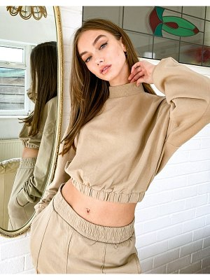 Bershka cropped sweatshirt top in camel-brown