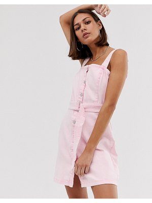 Bershka denim pini dress in pink