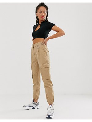 Bershka drawstring hem pants in camel