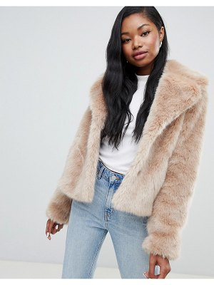 Bershka faux fur short jacket in camel