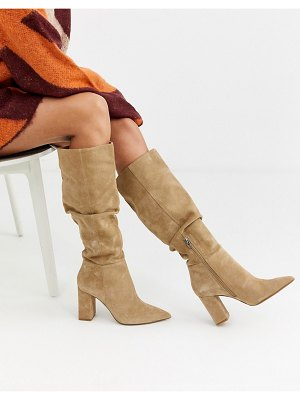 Bershka faux suede slouch knee high boots in sand-beige