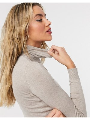 Bershka fine gauge roll neck sweater in beige