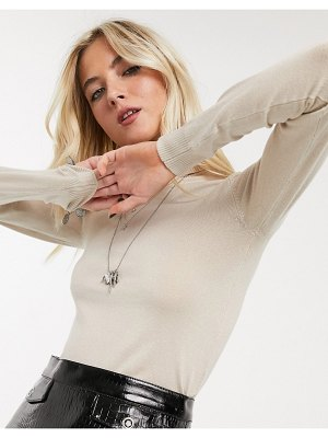 Bershka fine knit roll neck sweater in beige