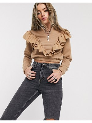Bershka half zip sweat with frill detail in camel-brown