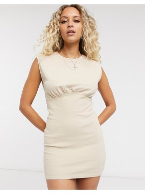 Bershka jersey dress with corset structure in beige