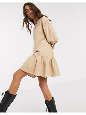 Bershka jersey smock dress in camel-brown