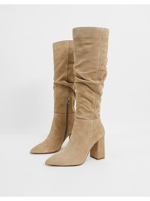 Bershka knee high suede boots in taupe-beige