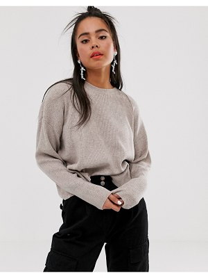 Bershka loose fit ribbed sweater in camel