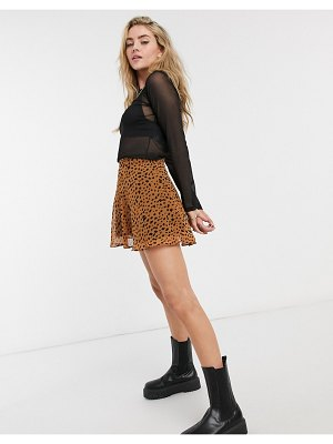 Bershka mini animal print skater skirt in brown
