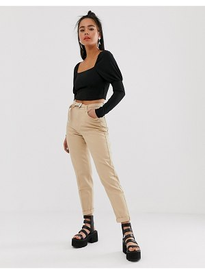 Bershka mom fit pants with belt in beige