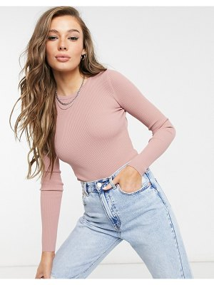 Bershka open back high neck bodysuit in muted clay-pink