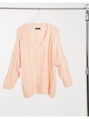 Bershka oversized cableknit sweater in peach-pink