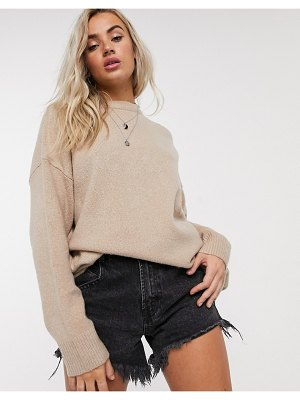 Bershka oversized sweater in camel-brown