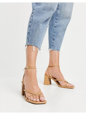 Bershka padded heeled sandal in white-brown