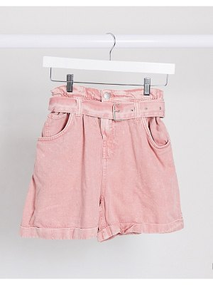 Bershka paperbag belted denim shorts in washed pink