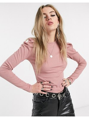Bershka puff sleeve ribbed t-shirt in pink