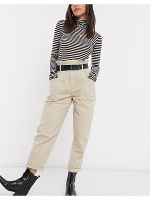 Bershka relaxed paperbag pants with belt in sand-brown