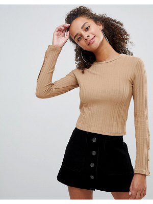 Bershka ribbed long sleeve top with popper detail