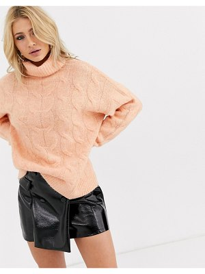 Bershka roll neck cable knitted sweater in salmon-pink
