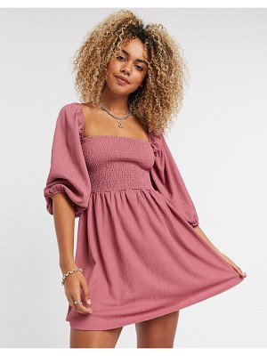 Bershka shirred mini dress in dusky pink