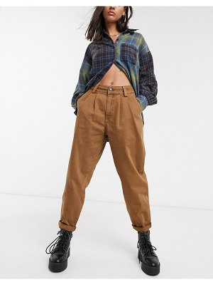 Bershka slouchy pants in brown