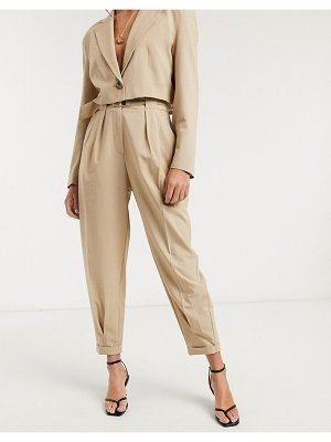 Bershka slouchy tailored pants in beige
