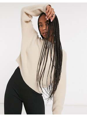 Bershka soft touch crew neck sweater in camel-brown