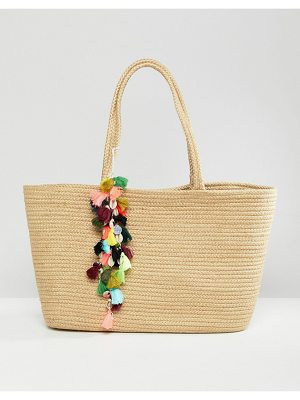 Bershka Straw Shopper With Pom Pom Detail