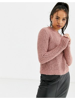 Bershka textured knitted sweater in pink