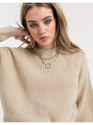 Bershka thick knit sweater in camel-brown