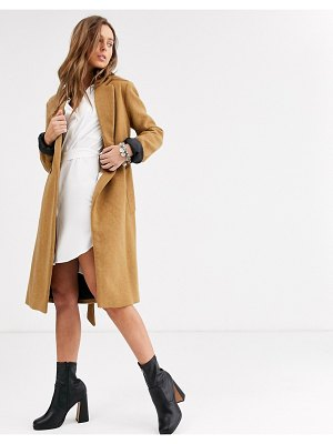 Bershka tie waist tailored coat in camel