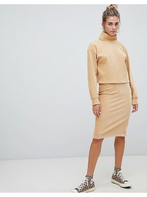 Bershka chenille tube skirt in beige