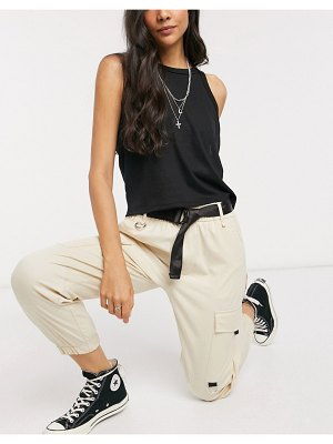 Bershka utility belted cargo pants in ecru-cream