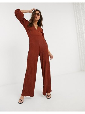 Bershka v neck textured jumpsuit in rust-brown