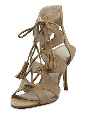 Bettye Muller Swell Caged Lace-Up Suede Sandals