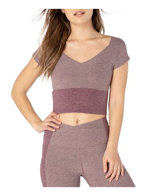 Beyond Yoga Day One Space-Dye Colorblock Short-Sleeve Cropped Top