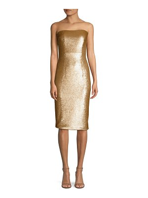 Black Halo barker sequined strapless sheath
