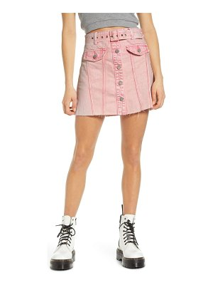Blank NYC belted denim a-line miniskirt
