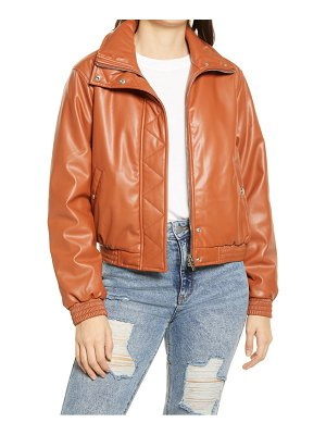 Blank NYC crop faux leather bomber jacket