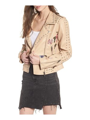 Blank NYC embellished faux leather moto jacket