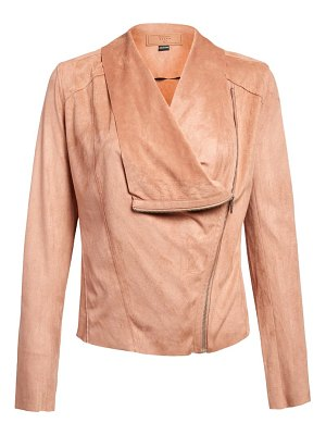 Blank NYC faux suede drape front jacket