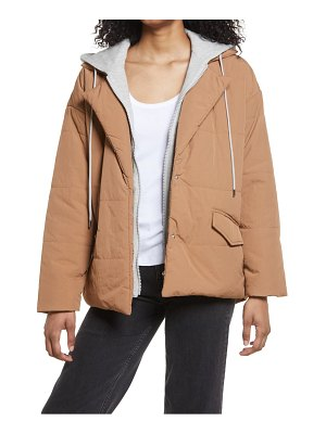 Blank NYC hooded quilted tie waist jacket