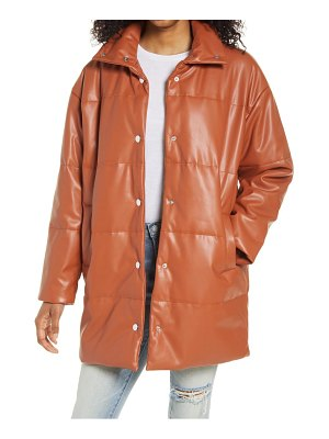 Blank NYC mid length faux leather puffer coat