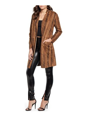 Blank NYC snake print long faux leather coat