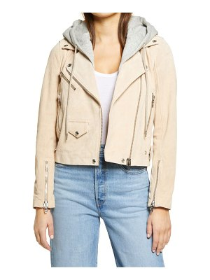 Blank NYC suede hooded leather moto jacket