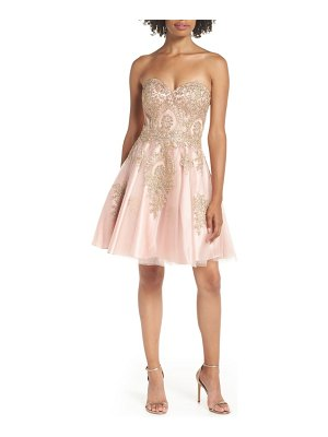 Blondie Nites strapless applique party dress
