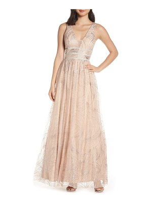 Blondie Nites stripe waist glitter mesh evening dress