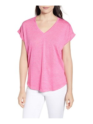 Bobeau stripe pleat back v-neck tee