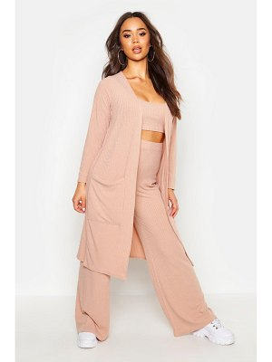 Boohoo 3 Piece Wide Leg Top & Duster Rib Co-Ord