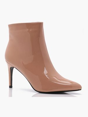 BOOHOO Abbie Patent Pointed Toe Ankle Boots